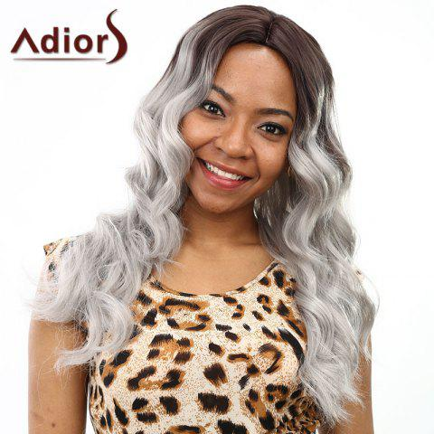 Latest Fashion Brown Ombre Gray Centre Parting Fluffy Wave Long Synthetic Wig For Women