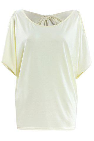 Fashion Stylish Women's Scoop Neck Hollow Out Pure Color T-Shirt
