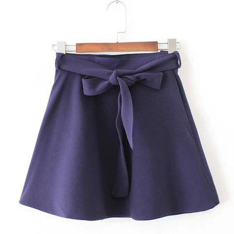 Fancy Belted Mini Skater Skirt