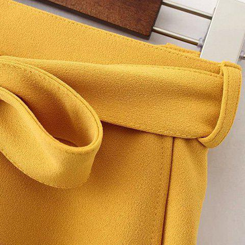 Fashion Belted Mini Skater Skirt - S YELLOW Mobile