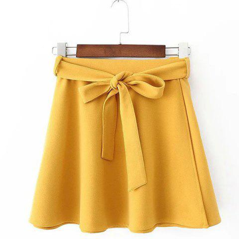 Fashion Belted Mini Skater Skirt - YELLOW L Mobile