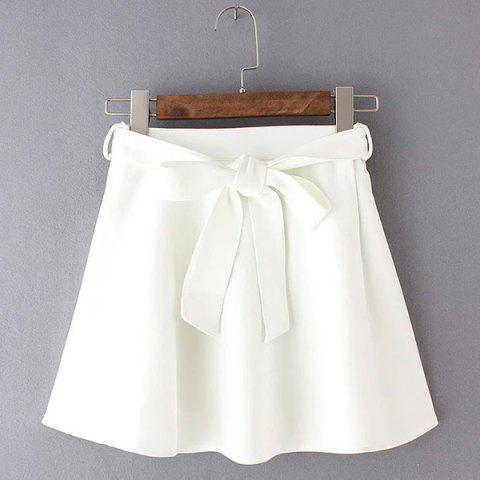 Sale Belted Mini Skater Skirt - WHITE M Mobile