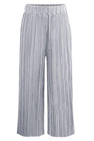 Discount Pleated Wide Leg Pants - L GRAY Mobile