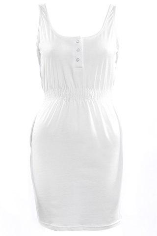 Online Scoop Neck Tank Casual Cream Dress - S WHITE Mobile