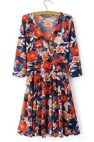 Unique V Neck Floral Surplice Dress