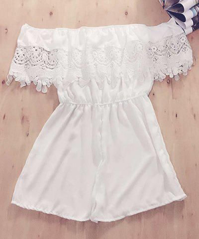 Women s Off The Shoulder Lace Spliced Crocheting Romper