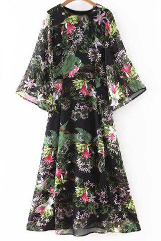 Fashion Bohemian Flare Sleeve Round Neck Floral Women's Dress
