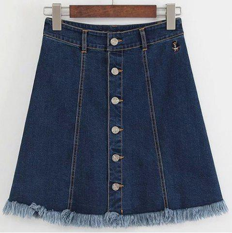 Outfits Sweet High-Waisted Button Embellished Fringe Women's Skirt