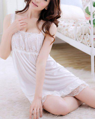 Online Alluring Spaghetti Strap Lace Spliced Solid Color Women's Babydoll - S WHITE Mobile