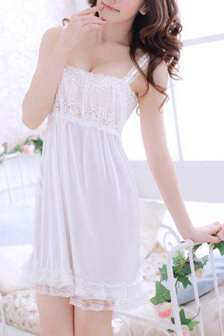 Sale Alluring Spaghetti Strap Lace Spliced Solid Color Women's Babydoll - S WHITE Mobile