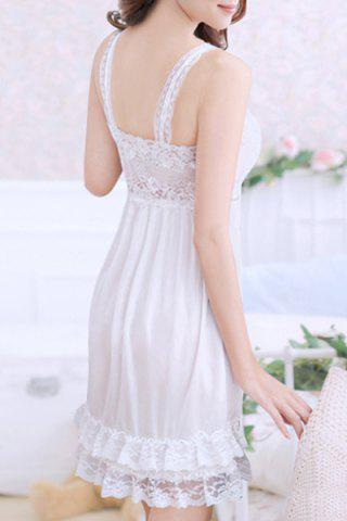 Outfits Alluring Spaghetti Strap Lace Spliced Solid Color Women's Babydoll - S WHITE Mobile