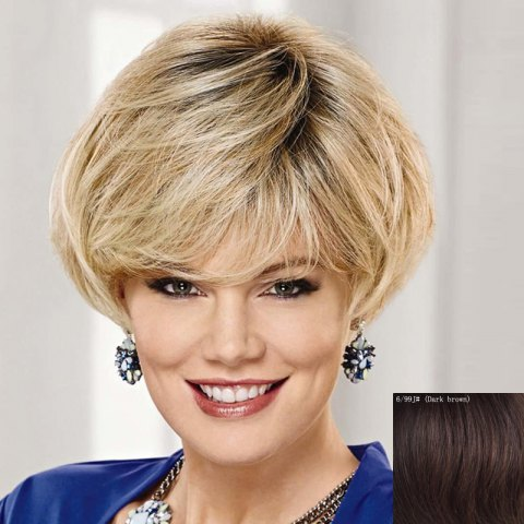 Hot Graceful Side Bang Capless Fashion Short Natural Straight Human Hair Wig For Women