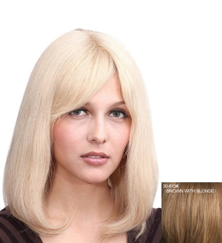 Discount Noble Straight Tail Adduction Capless Fashion Side Bang Medium Human Hair Wig For Women