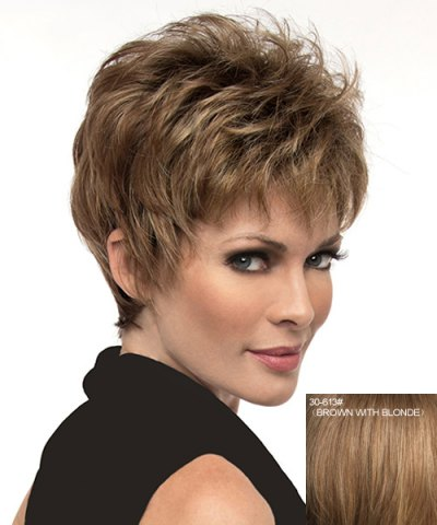 Affordable Ladylike Full Bang Capless Fluffy Natural Straight Short Human Hair Wig For Women