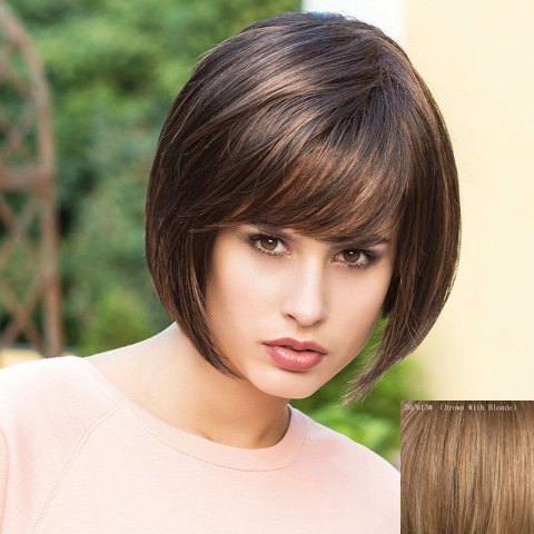 Buy Bob Hairstyle Short Capless Fashion Straight Side Bang Real Human Hair Wig For Women BROWN WITH BLONDE