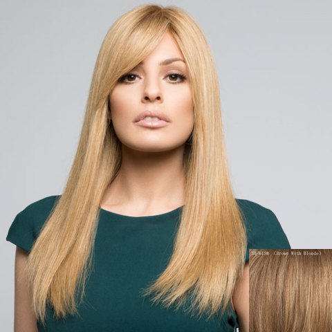 Online Attractive Side Bang Long Capless Stylish Silky Straight Real Human Hair Wig For Women