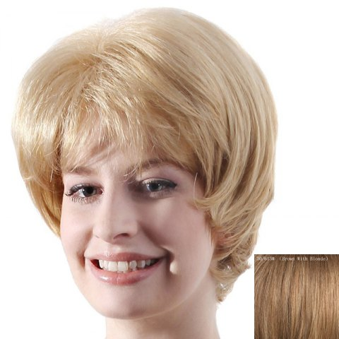 Latest Fluffy Natural Straight Capless Stylish Short Side Bang Human Hair Wig For Women