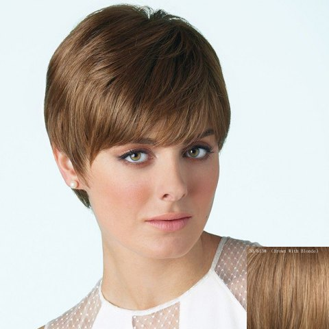 Sale Spiffy Short Straight Capless Fashion Side Bang Real Human Hair Wig For Women