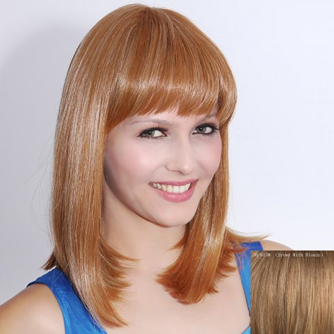 Affordable Human Hair Charming Medium Full Bang Straight Capless Wig