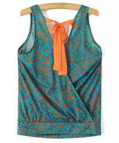 Discount Chic V Neck Printed Criss-Cross Loose Tank Top For Women
