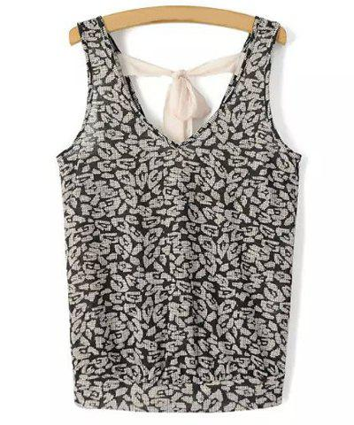 Outfit Chic V Neck Printed Criss-Cross Tank Top For Women BLACK XL