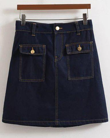 Discount Fashionable Solid Color Zipper Fly Two Pockets Design Skirt For Women