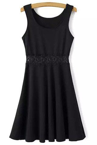 Cheap Leisure Style Scoop Neck Sleeveless Lace Splicing Black Dress For Women BLACK S