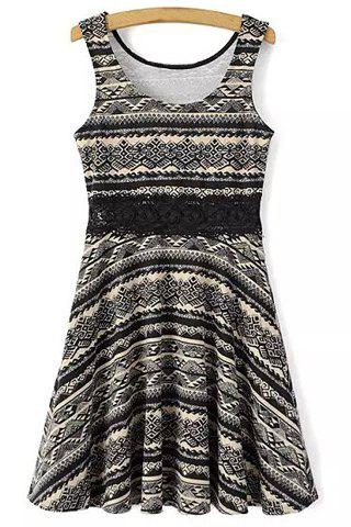 Store Leisure Style Scoop Neck Sleeveless Lace Splicing Printed Dress For Women
