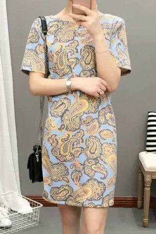 Outfits Elegant Round Neck Short Sleeve Paisley Print Loose-Fitting Dress For Women