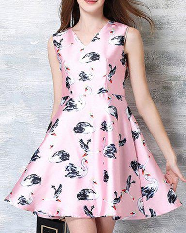 Affordable Sweet Style V Neck Sleeveless All-Over Swans Print Ball Gown Dress For Women