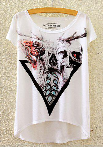 Discount Stylish Round Neck Short Sleeve Skull Print High-Low Hem T-Shirt For Women