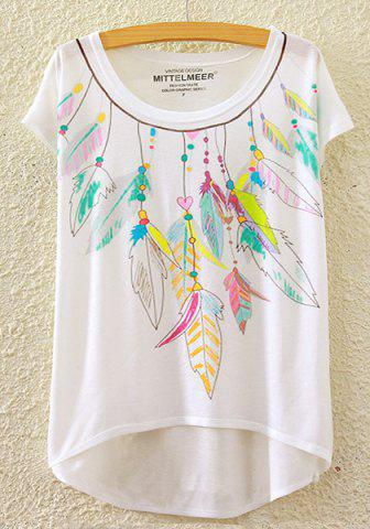 Unique Stylish Round Neck Short Sleeve Colorful Feather Print High-Low Hem T-Shirt For Women