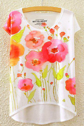 Unique Country Style Round Neck Short Sleeve Watercolor Floral Print High-Low Hem T-Shirt For Women