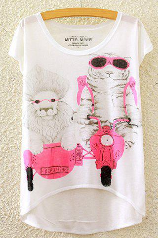 Fashion Cute Round Neck Short Sleeve Lion and Tiger Print High-Low Hem T-Shirt For Women