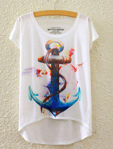 Trendy Short Sleeve Anchor Printed High-Low Hem T-Shirt WHITE ONE SIZE(FIT SIZE XS TO M)