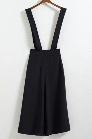 Shops Stylish High Waist Loose-Fitting Black Cropped Overalls For Women