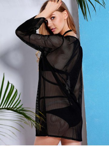 Unique See Through Long Sleeve Mesh Beach Cover-Up Dress - L BLACK Mobile
