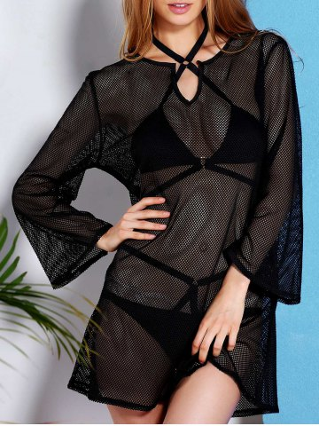 Unique See Through Long Sleeve Mesh Beach Cover-Up Dress - 2XL BLACK Mobile