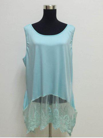 Cheap Elegant Scoop Neck Sleeveless Lace Splicing Pus Size Top For Women
