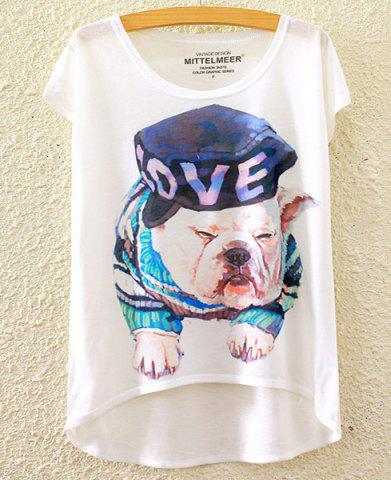 New Cute Scoop Neck Puppy Print High Low Short Sleeve T-Shirt For Women