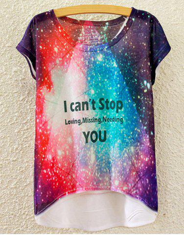 Online Chic Scoop Neck Colorful Starry Sky Print High Low Short Sleeve T-Shirt For Women