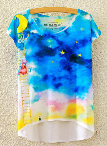 Unique Chic Scoop Neck Starry Sky Print High Low Short Sleeve T-Shirt For Women