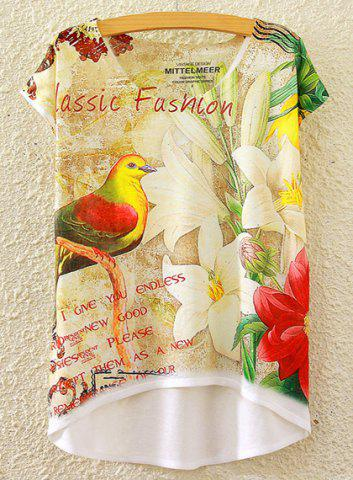 Cheap Chic Scoop Neck Lily and Bird Print High Low Short Sleeve T-Shirt For Women