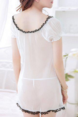Latest Trendy Plunging Neck See-Through Bowknot Design Women's Babydoll - L WHITE AND BLACK Mobile