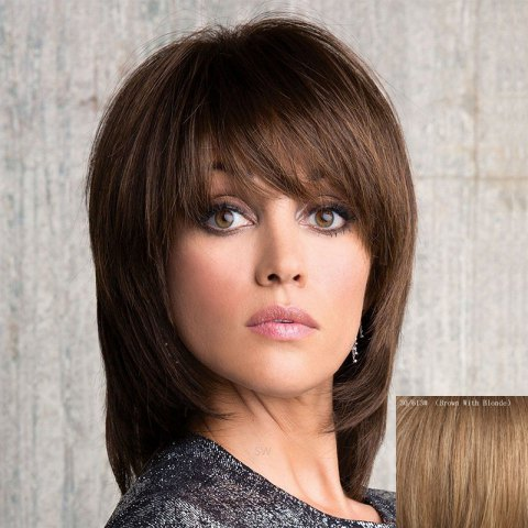 Shop Stunning Medium Layered Capless Vogue Straight Side Bang Human Hair Wig For Women