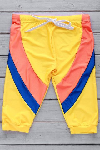 Buy Color Block Lace Up Five Pants Men's Swimming Trunks