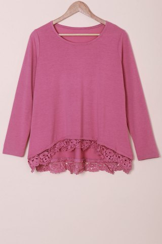 Best Stylish Lace Spliced Hem Long Sleeve T-Shirt For Women - ROSE L Mobile