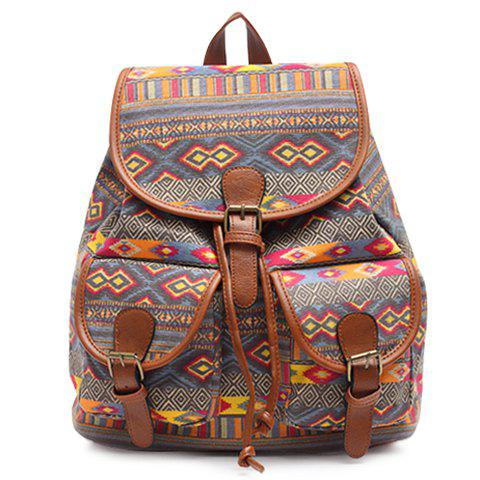 Fashion Ethnic Style Geometric Print and Buckle Design Satchel For Women