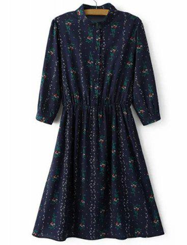 Chic Stand Up Collar Floral Print Dress