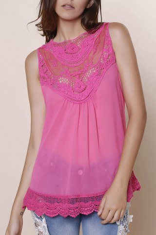 Online Sweet Hollow Out Lace Spliced Solid Color Tank Top For Women ROSE L